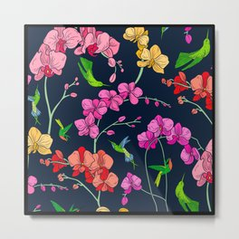 Colorful Flowers With Humming Birds Pattern Metal Print
