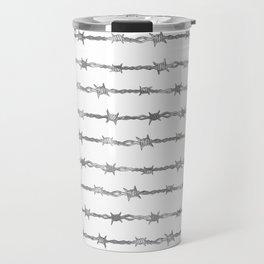 barbed wire stripe - white Travel Mug