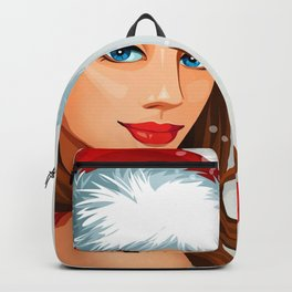 Holiday Christmas Merry Christmas Girl Santa Hat B Backpack
