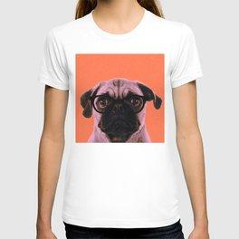 Geek Pug in Orange Background T-shirt