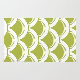 Japanese Fan Pattern Chartreuse Rug