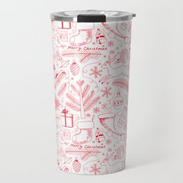 Doodle Christmas pattern red Travel Mug