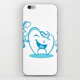 Smiling tooth with toothbrush and toothpaste iPhone Skin