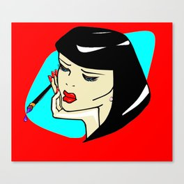 A Vamp Artist with Red Background Canvas Print