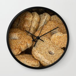 Homemade biscuits in aluminum paper bag Wall Clock