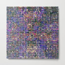 Blue Brick Grunge Wall Metal Print
