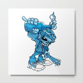 Anarchy Skeleton -  Iris Blue bottle fire skull Metal Print