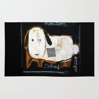 sheep Area & Throw Rugs featuring sheep by woman
