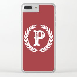 Rustic Red Monogram: Letter P Clear iPhone Case