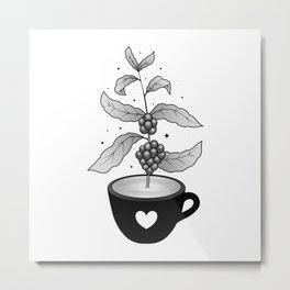 Coffee cup with Coffee plant Metal Print