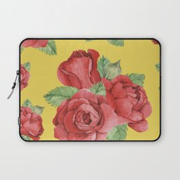 Colorful Vintage Watercolor Red Rose Laptop Sleeve
