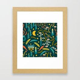 Magic Cat Pattern Framed Art Print