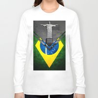 brazil Long Sleeve T-shirts featuring Flags - Brazil by Ale Ibanez