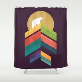 Lingering mountain with golden moon Shower Curtain