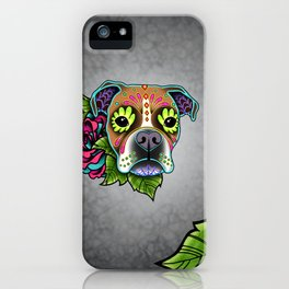 Boxer in White Fawn - Day of the Dead Sugar Skull Dog iPhone Case