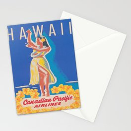 Hawaii Hula Girl Vintage Travel Poster Stationery Cards