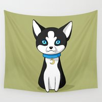 husky Wall Tapestries featuring Husky by Freeminds