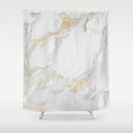 Marble with Gold Shower Curtain
