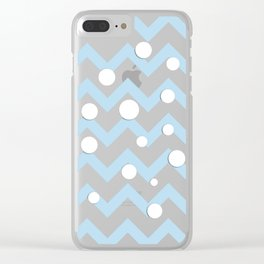 Light blue white Chevron pattern with Snowballs Clear iPhone Case