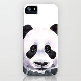 Stylish watercolor panda with sad eyes iPhone Case