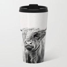 portrait of a highland cow Metal Travel Mug