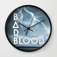 bastille Wall Clocks featuring Bastille - Bad Blood #2 by Thafrayer