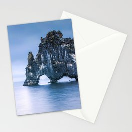 Intriguing Monstrous Mountain In Coastline Water  Stationery Cards