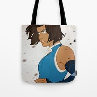 the legend of korra Tote Bags featuring Korra by MJ Erickson