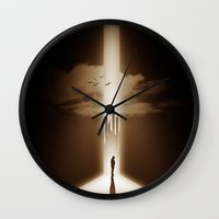 heaven Wall Clocks featuring heaven by MatoSwamp