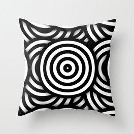 Retro Black White Circles Op Art Throw Pillow