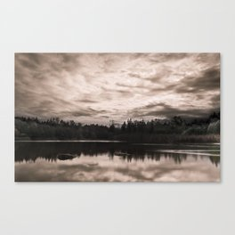 Bright Clouds Reflecting on Calm Water in Sepia Canvas Print