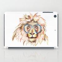 scuba iPad Cases featuring Scuba Lion by Kristen Williams