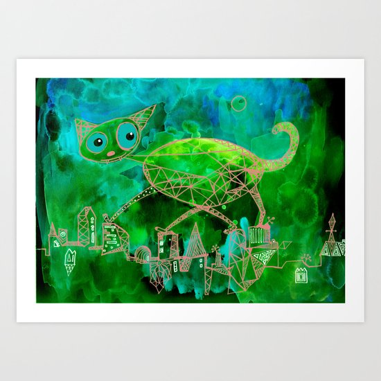 green cat Art Print