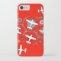 airplanes iPhone & iPod Cases featuring airplanes in red by Isabella Asratyan