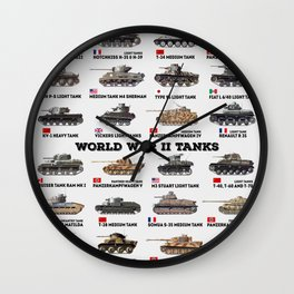 World War II Tanks Wall Clock