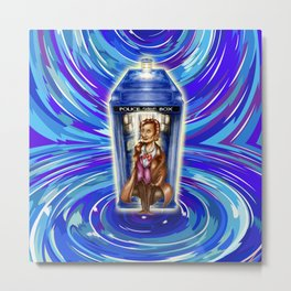 11th Doctor with Blue Phone box in time vortex Metal Print
