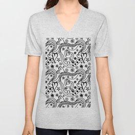 Modern black white hand drawn abstract hearts Unisex V-Neck