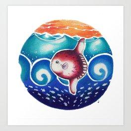 Red Sunfish (mola mola) Art Print