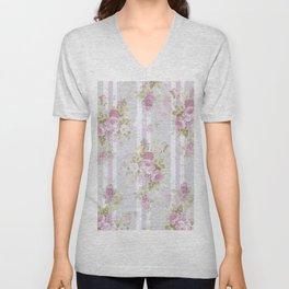 Vintage pink lilac watercolor roses floral stripes pattern Unisex V-Neck