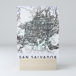 San Salvador, El Salvador, White, City, Map Mini Art Print