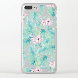 Modern summer tropical blush pink green watercolor floral Clear iPhone Case