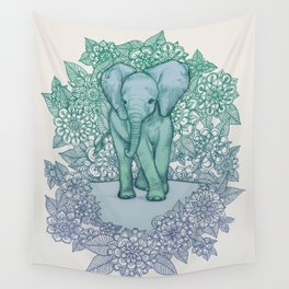 Emerald Elephant in the Lilac Evening Wall Tapestry
