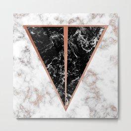 Black marble triangle shape Metal Print