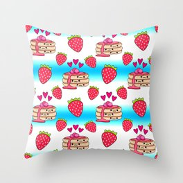 Cute funny sweet adorable yummy Kawaii pancakes with raspberry syrup, little pink hearts and red ripe summer strawberries cartoon light white and blue pattern design Throw Pillow