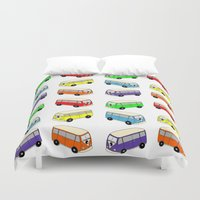 vw bus Duvet Covers featuring VW-Style Love Bus Campervan - Multi Colour by Carrie at Dendryad Art