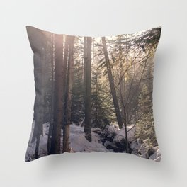 Winter forest sunset Throw Pillow