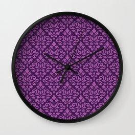 Scroll Damask Pattern Light on Dark Plum Wall Clock