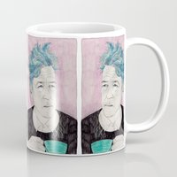 lynch Mugs featuring David Lynch drinking coffee. by Mexican Zebra