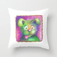 puppy Throw Pillows featuring Puppy by Chris Winn