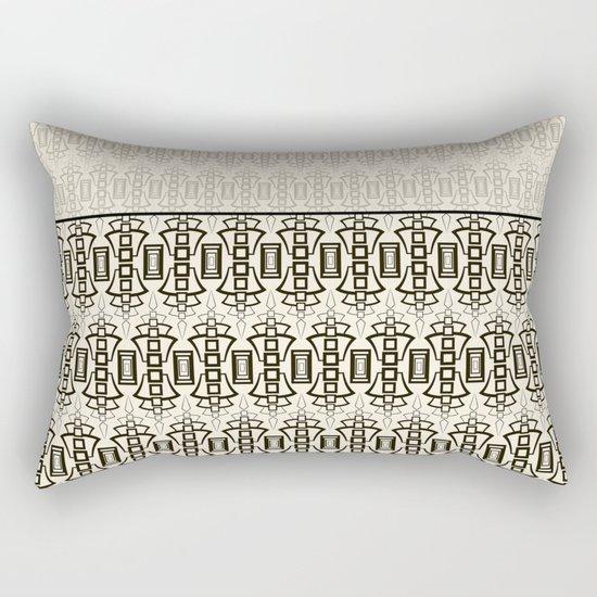 Art Deco . Black and beige combination pattern . Rectangular Pillow